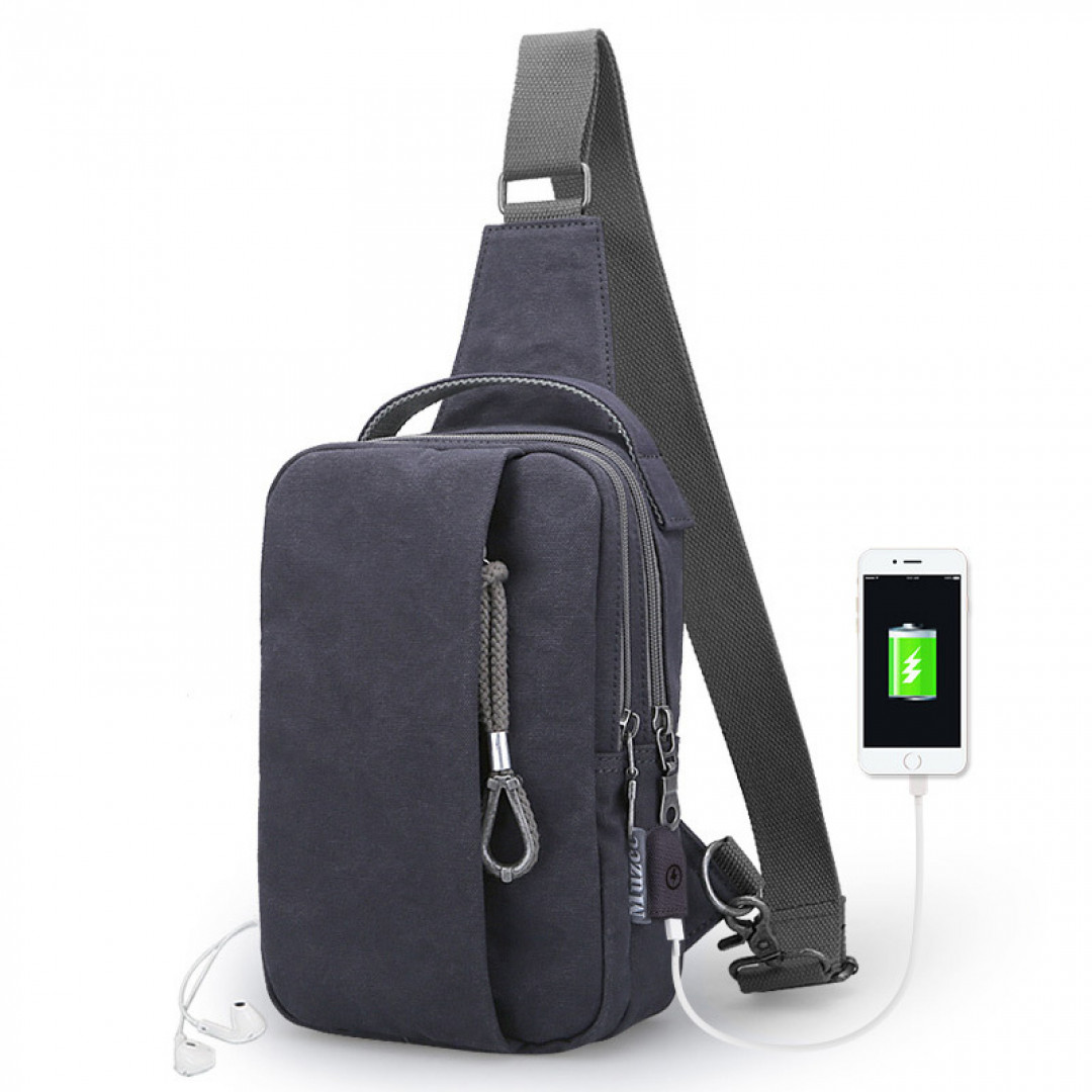 Shoulder Bag Muzee ME076U USB-Dark blue