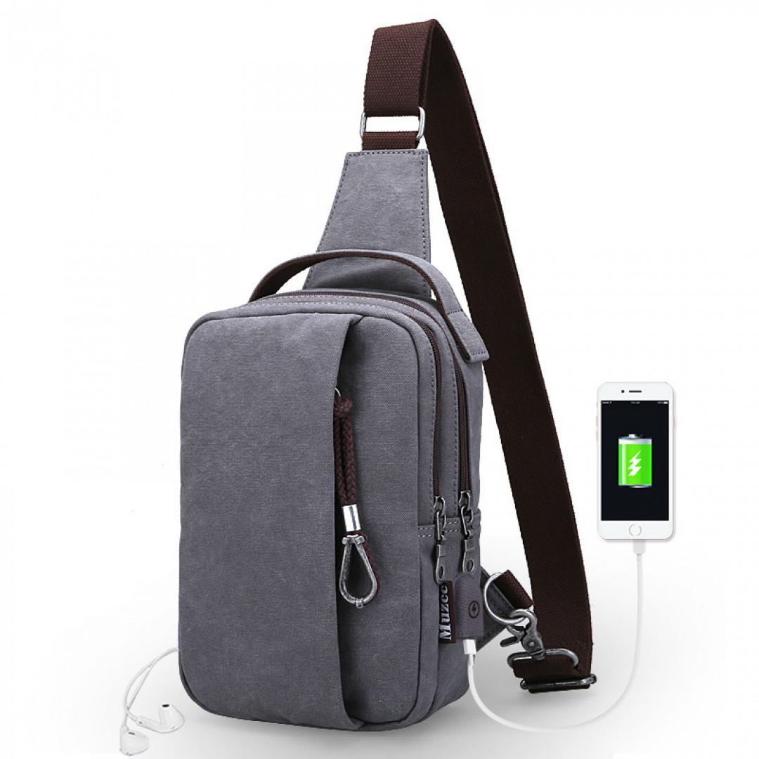 Shoulder Bag Muzee ME076U USB-Gray